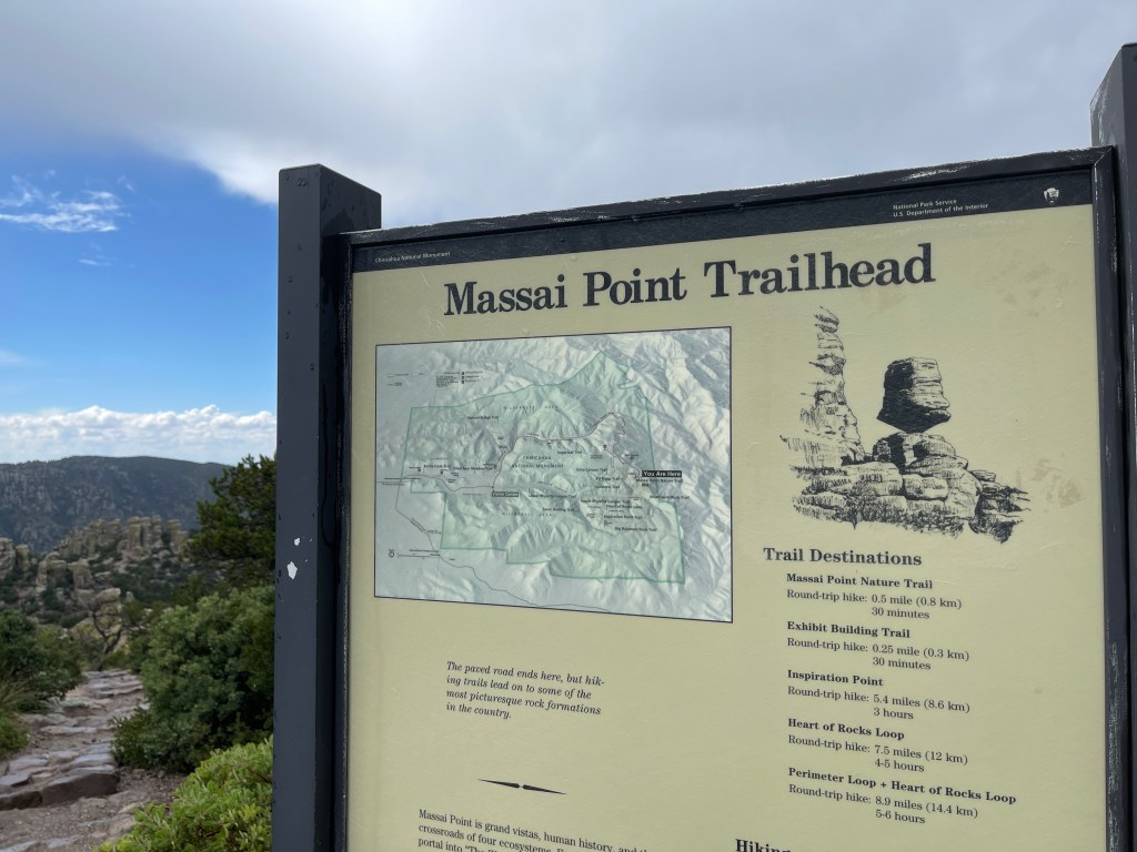 Trailhead signage at Massai Point