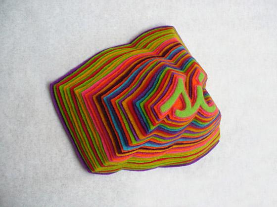 Foto de un diseno con pano lenci de Andrea Cavagnaro Mil hojas Si