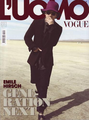 Tapa de la revista Vogue Hombre italiana con Emile Hirsch