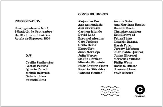 Flyer lanzamiento de Correspondencia N°2.Imagen.