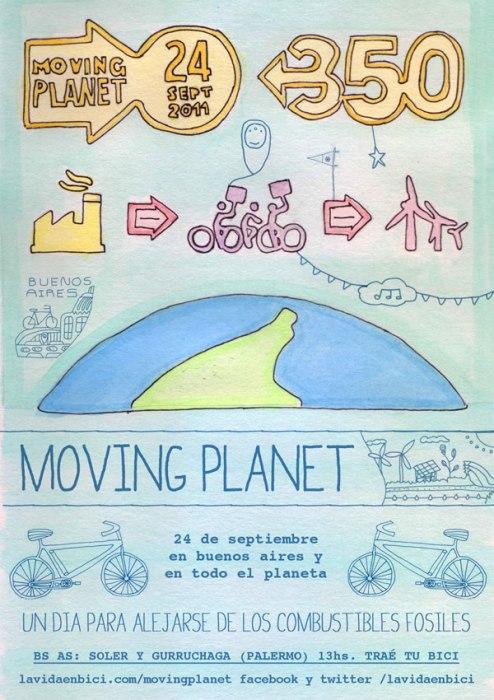 Flyer del evento Planeta en movimiento Buenos Aires. Imagen.