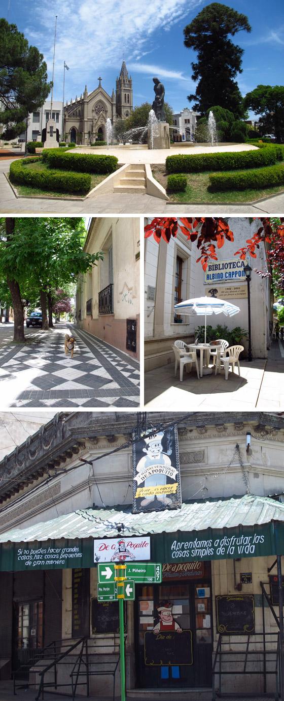 """Fotos de la Plaza de Lobos, Biblioteca y verdulería """"De a poquito"""". Fotos."""