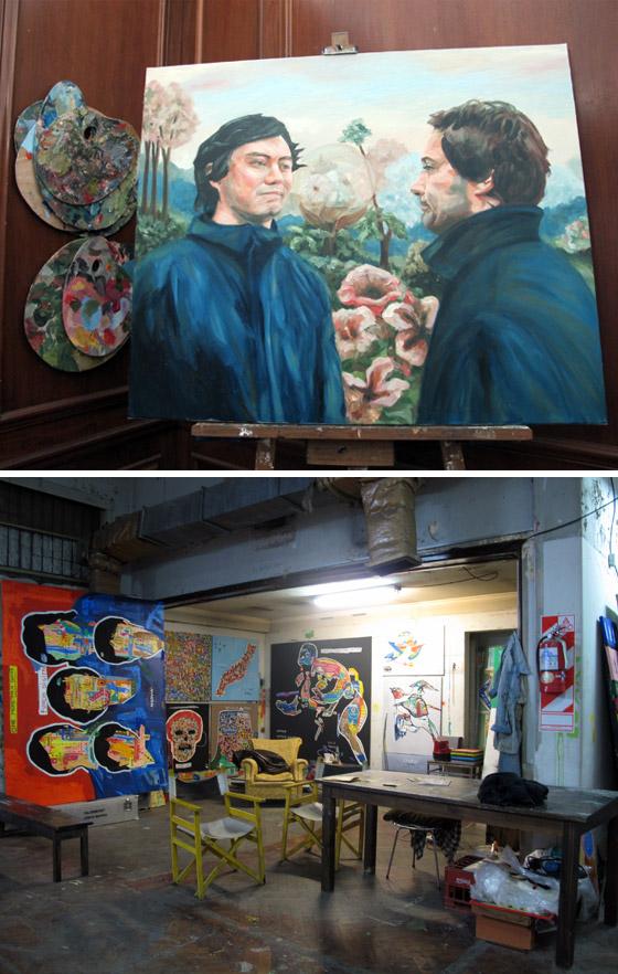 Imágenes de los ateliers de dos artistas. Foto.