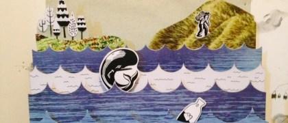 Maqueta ilustrada con temática marina de Munda. Foto