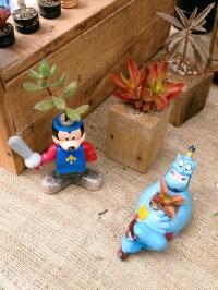 Suculentas miniatura en juguetes reutilizados, por Microscopio. Foto
