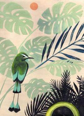 Pájaro verde, pintura de Lucila Domínguez. Foto
