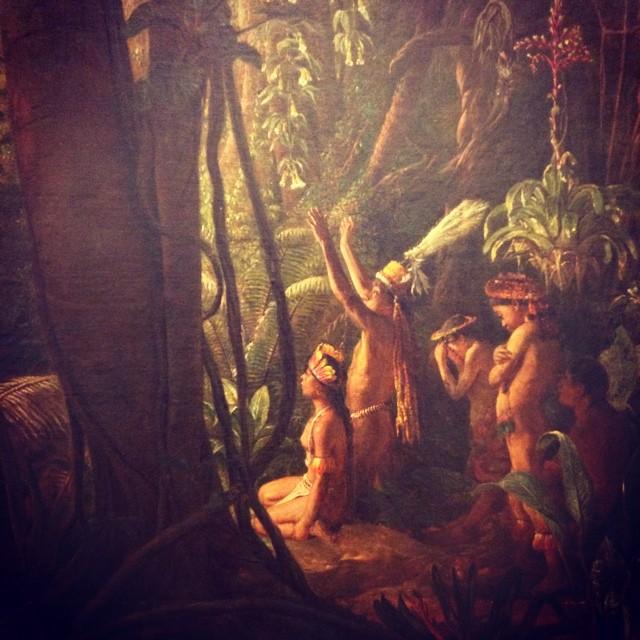 Postales de viaje de Lucila Domínguez: Pintura de indios adorando al sol, desde la Pinacoteca de Sao Paulo. Foto