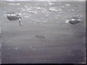 Ente-sw 11 / Öl auf Leinwand / 18 x 24 cm / 2002