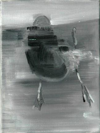 Ente-sw 12 / Öl auf Leinwand / 24 x 18 cm / 2002