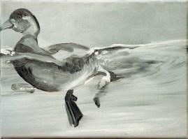 Ente-sw 6 / Öl auf Leinwand / 18 x 24 cm / 2002