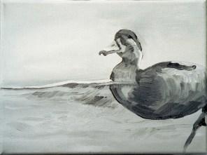 Ente-sw 7 / Öl auf Leinwand / 18 x 24 cm / 2002