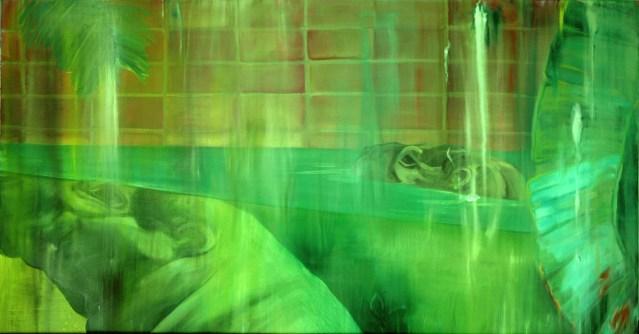 Nilpferde / Öl auf Leinwand / 50 x 100 cm / 2002