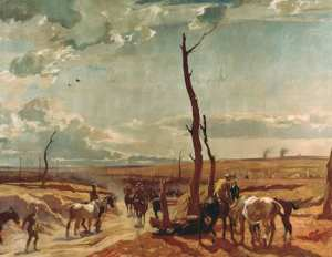 Algernon Talmage - Wounded horses returning from the front, oil on canvas, 762 x 1080mm, private collection