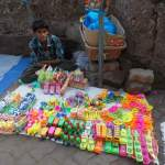A vendor selling toys