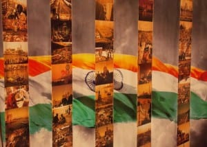 Miniature glimpses of Mumbai beautifully crafted amidst the Indian flag.
