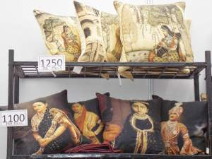 Indian themes on pillow covers.