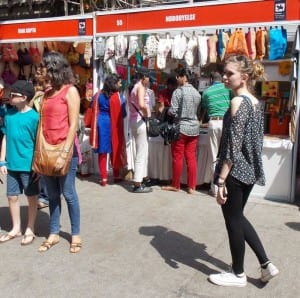 Visitors shopping at the stalls.