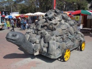 Stone tortoise cart bringing life to rocks!