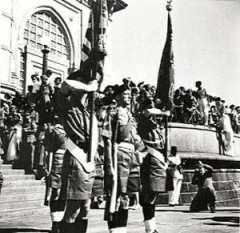 The 1st Battalion, Somerset Light Infantry, leaving Mumbai on 28th February 1948. Photo courtesy: Online photo library, National Army Museum, London