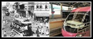 Electric Tram running on Bombay's street from 1907 to 1964 & newly inaugurated Mumbai Monorail service. Photo edit Aditya Chichkar.
