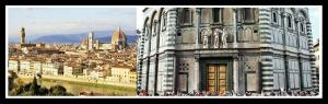 Ariel view of Florence, Italy. Tourists at the Florence Bapistry's eastern gate. Photo edit: Aditya Chichkar.