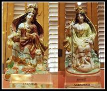 BDL Museum exhibits: Indian goddess of wealth Lakshmi (left) and goddess of knowledge Saraswati made with Chinese porcelain. Photo courtesy Aditya Chichkar