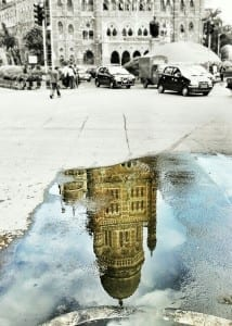 Monsoon Reflections! – Mumbai's grand old Municipal Corporation building seen in a puddle created by the first showers that hit Mumbai. Photo courtesy: Aditya Chichkar.