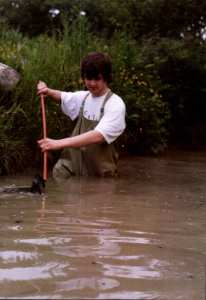 Trevor Weeks rescuing some newts in mid 1990s