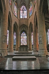 The gorgeous Gothic Basilica of Notre Dame in Mezieres features post-WW2 replacement stained glass windows