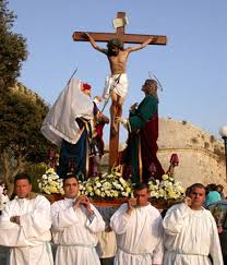 Depiction of The Crucifixion, the last of seven statues carried in every procession