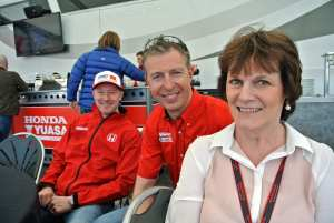Elizabeth and the racing drivers (Gordon left; Matt middle)