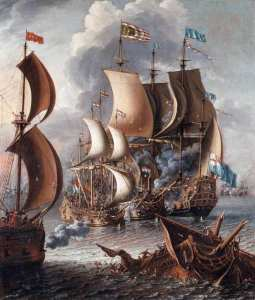 A sea battle with Barbary corsairs