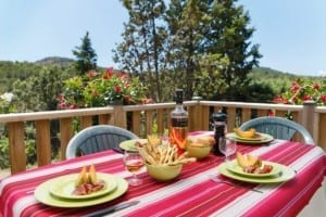 Lunch on mobile home terrace