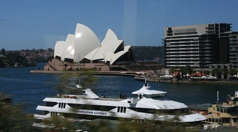 The Opera House with Captain Cook Ferry in the foreground Reginald J. Dunkley