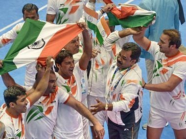 India's National Team winning Gold at the Asian Games