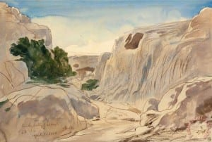Rocky Valley of Mosta, Malta, 2 15 P.m. (april 3, 1866) Painting by Edward Lear; Rocky Valley of Mosta, Malta, 2 15 P.m. (april 3, 1866) Art Print for sale