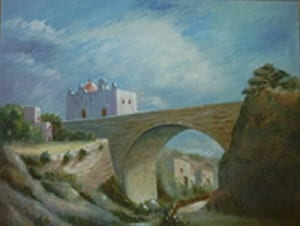 A painting of the Chapel at Wied ta' l-Ezperanza (Valley of Hope).
