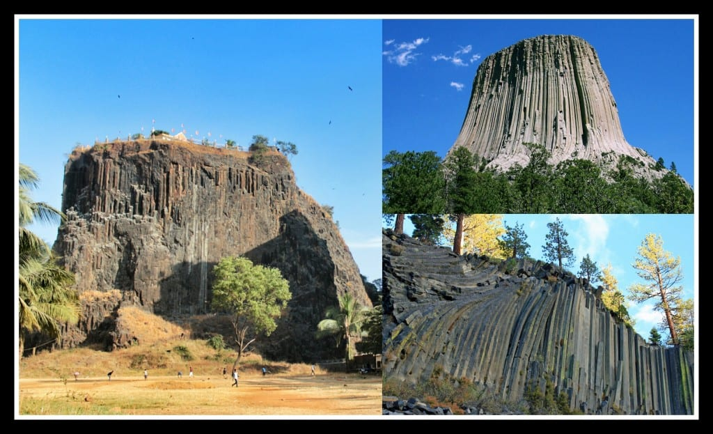 Gilbert Hill's peers- Devil Tower National Monument, Wyoming (Top Right) and Devil's postpile National Monument, East California, U.S.A