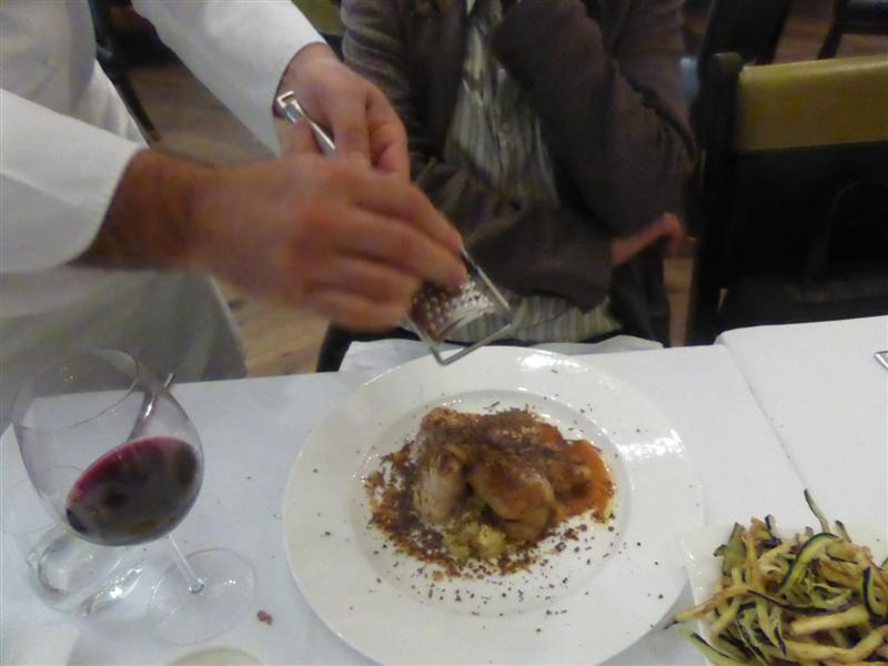 truffles grated over guineafowl