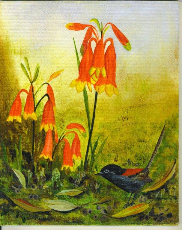 Oil Painting of Christmas Bells and Wren by Patricia Newell Dunkley