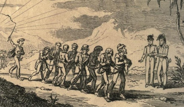 MalDia 05 (30-12-15) A sketch depiction of Christian slaves being driven by what was described as Muslim Infidels
