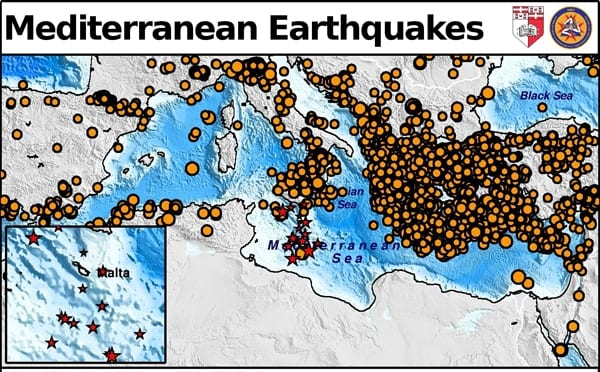 Seismic activity throughout the Mediterranean region.