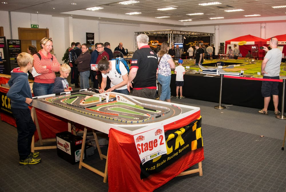Trying out the fun of slot car racing