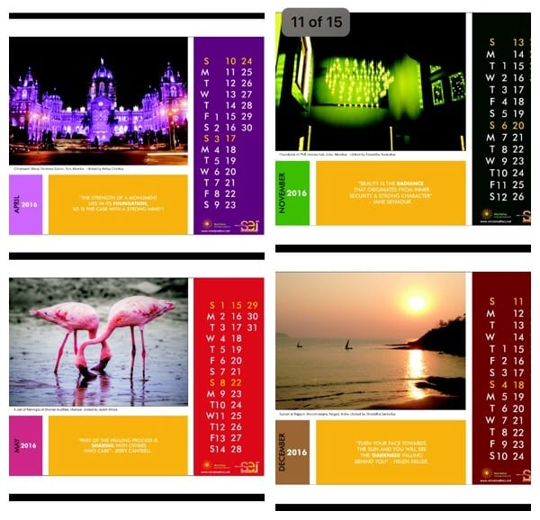Colourful Inspirational calendar from Mind Matterz displayed on www.mindcart.in