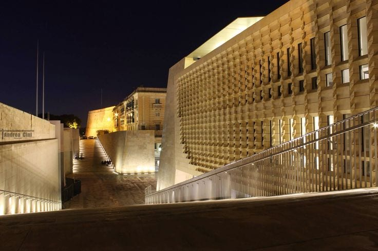 Inside the new Valletta entrance and parliament building.