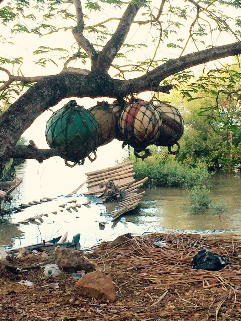 Ship floats hanging by a tree
