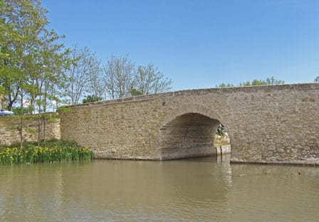 Old low bridge on Canal du Midi