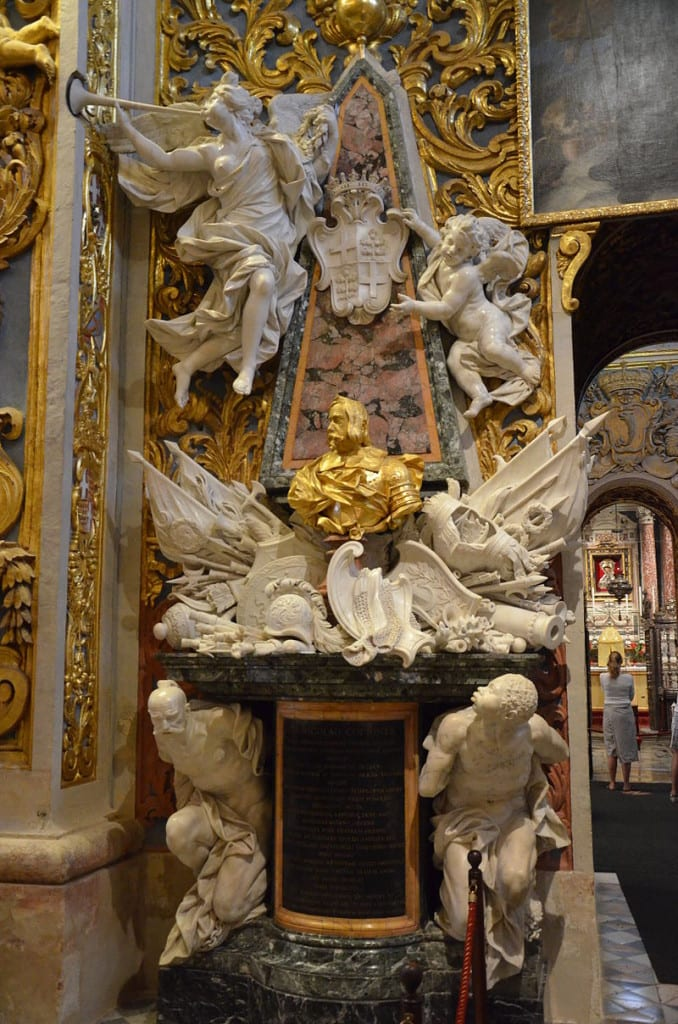 Monument to Gradmaster Nicolo Cotoner who transformed the Cathedral into a baroque showpiece.