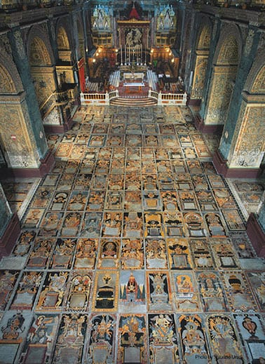 The Cathedral flooring, tombs of Knights of the Order.
