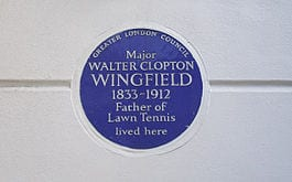 Blue Plaque, father of lawn tennis